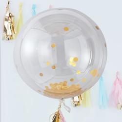 Jätteballonger med Guld Konfetti 3-pack