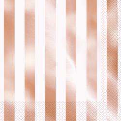 Servetter Randig Rose Foil