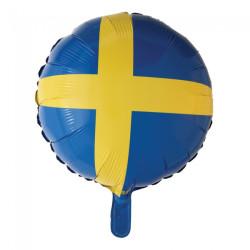 Folieballong Svenska Flaggan Rund