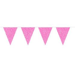 Flaggirlang Glitter Rosa