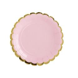 Assiett Rosa med Guldkant