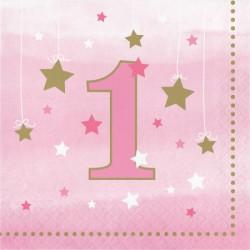 Little Pink Star 1 år Servetter