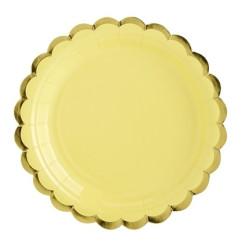 Assiett Gul med Guldkant