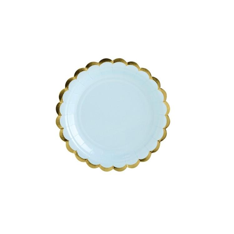 Assiett Ljusblå med Guldkant
