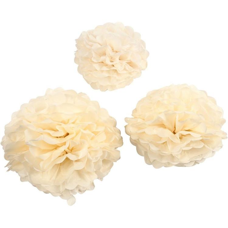 Dekorationsbollar, Pom Pom Ivory 3-pack
