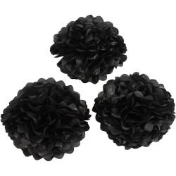 Dekorationsbollar, Pom Pom Svart 3-pack