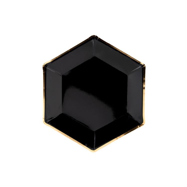 Prima Köp Papperstallrikar Svarta med Guldkant hos Partytajm OS-93