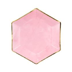 Papperstallrik Hexagon Rosa