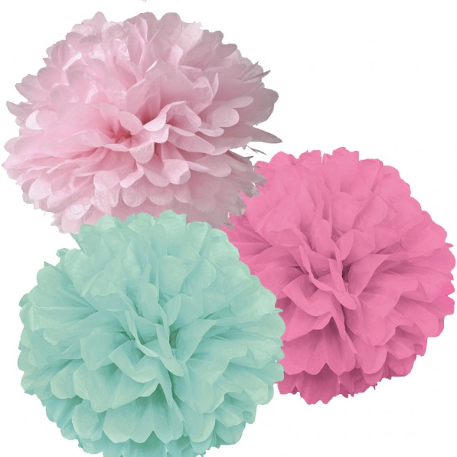 Pom Pom Mint-Mörkrosa-Mix 3-pack