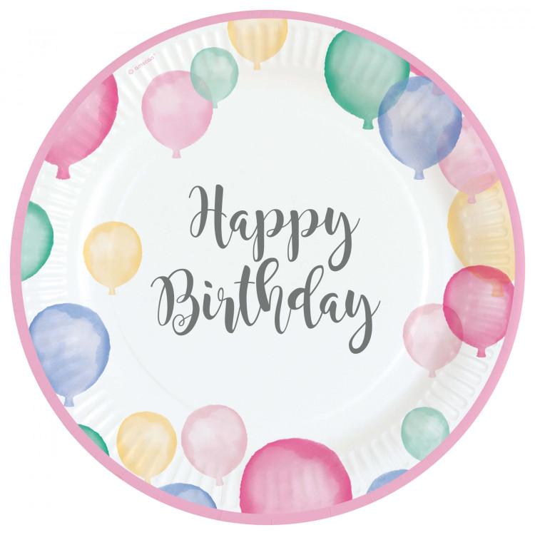 Papperstallrikar Happy Birthday Pastell