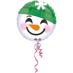 Rund Folieballong Snögubbe