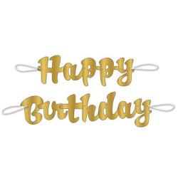 Banner Happy Birthday Guld