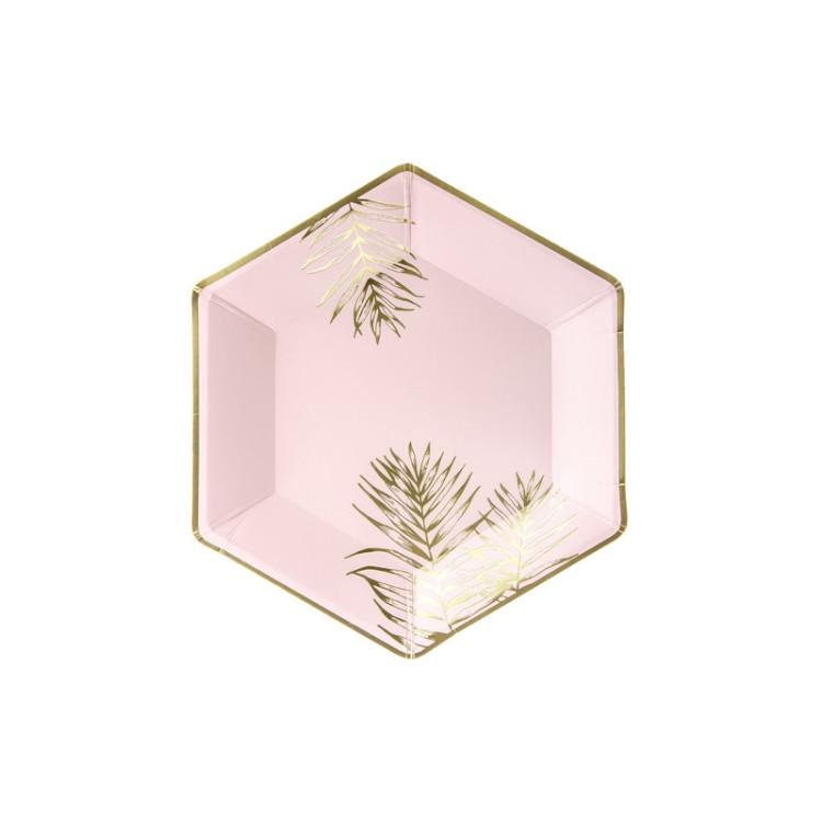 Papperstallrikar Palmblad Guld
