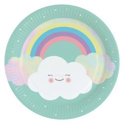 Papperstallrikar Regnbåge & Moln