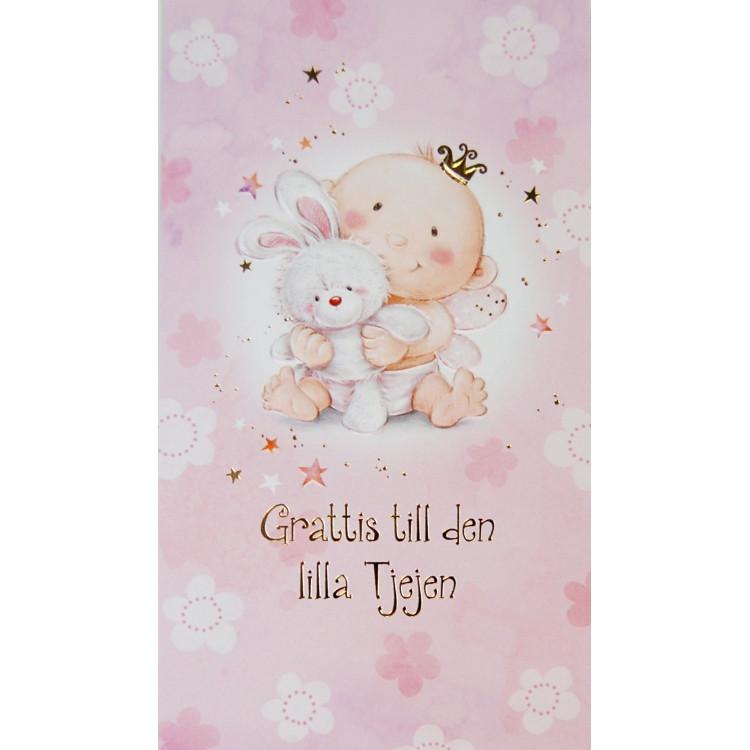 Gratulationskort Rosa med kanin & Baby