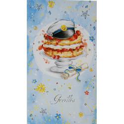 Gratulationskort Student med Tårta