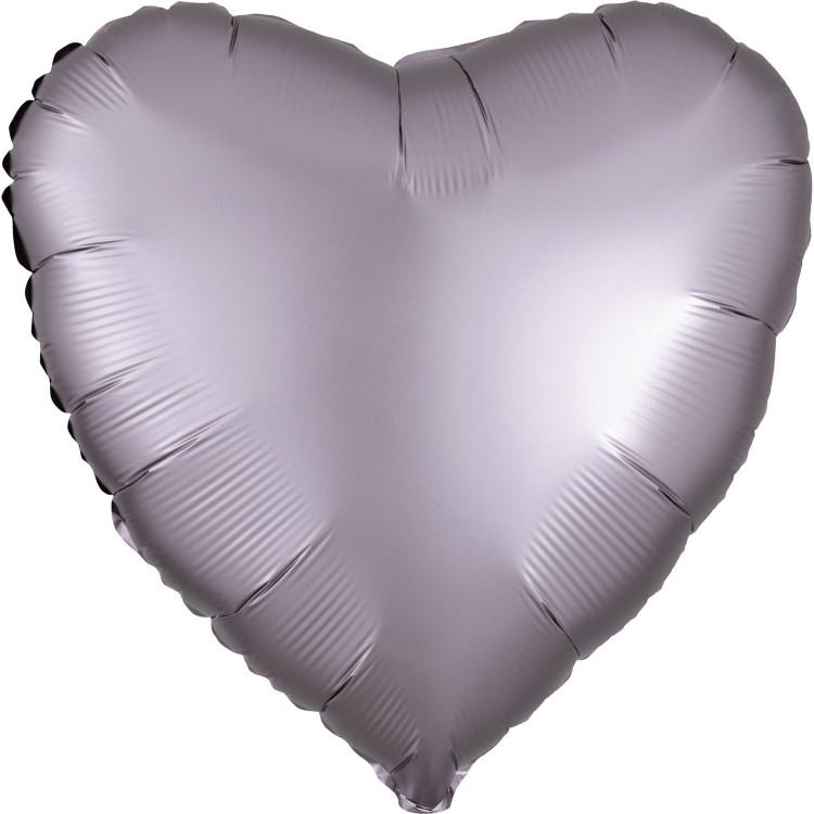 Folieballong Hjärta Grå/Lavendel