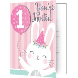 Inbjudningskort 1 år Kanin