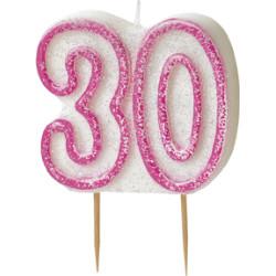 Tårtljus 30 år Pink