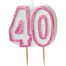 Tårtljus 40 år Pink