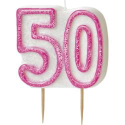 Tårtljus 50 år Pink
