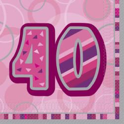 Pink Glitz 40 år Servetter