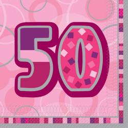 Pink Glitz 50 år Servetter