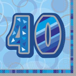 Blue Glitz 40 år Servetter