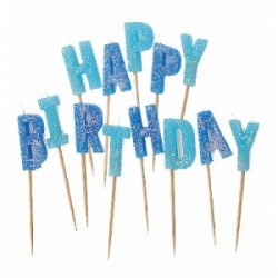 Ljus Happy Birthday Blå