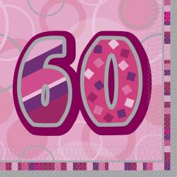 Pink Glitz 60 års Servetter