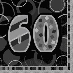 Black Glitz 60 års Servetter