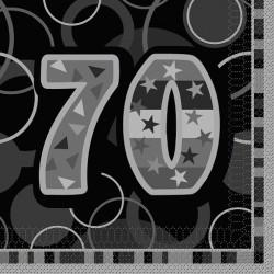 Black Glitz 70 års Servetter