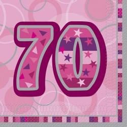 Pink Glitz 70 års Servetter
