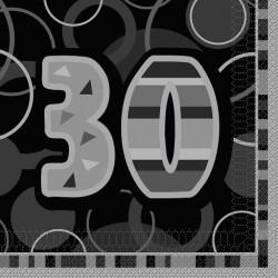 Black Glitz 30 års Servetter