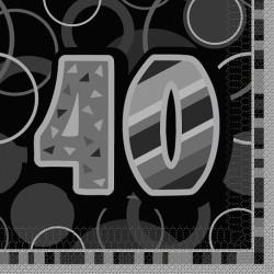 Black Glitz 40 års Servetter