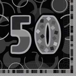Black Glitz 50 års Servetter