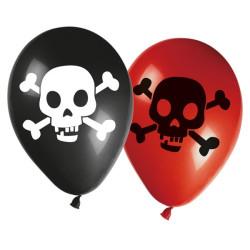 Piratballonger Dödskalle Röd och Svart