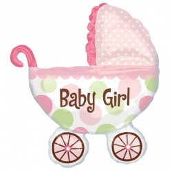 Folieballong Barnvagn rosa