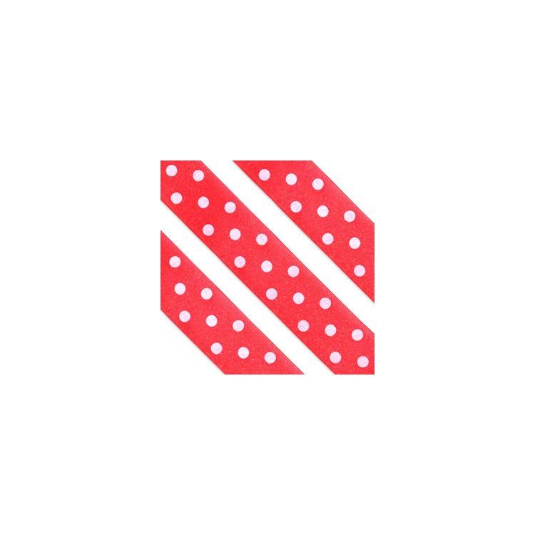 Sidenband Röd med vita prickar