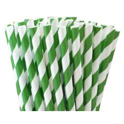 Papperssugrör Randiga Grön