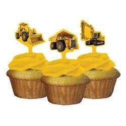 Byggbilar Muffinsdekorationer
