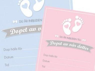 Inbjudningskort för Dop & Baby
